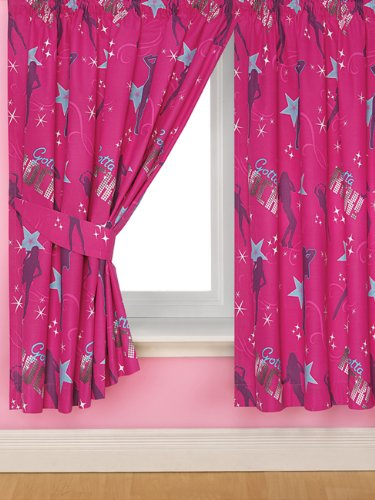 Click for larger view of Hannah Montana ROCK Curtains 66x54in PINK GIRLS