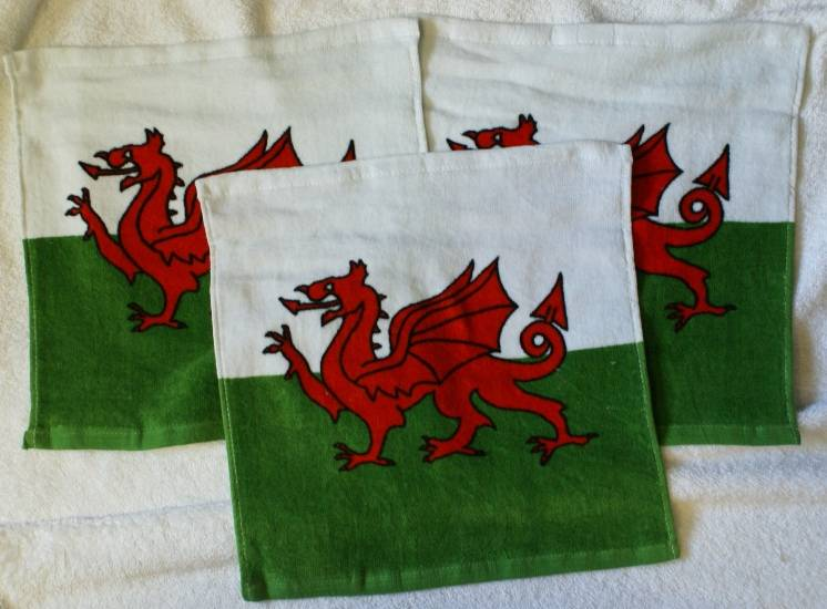 Wales Welsh Dragon Flag Face Cloth Flannel 3 Pack